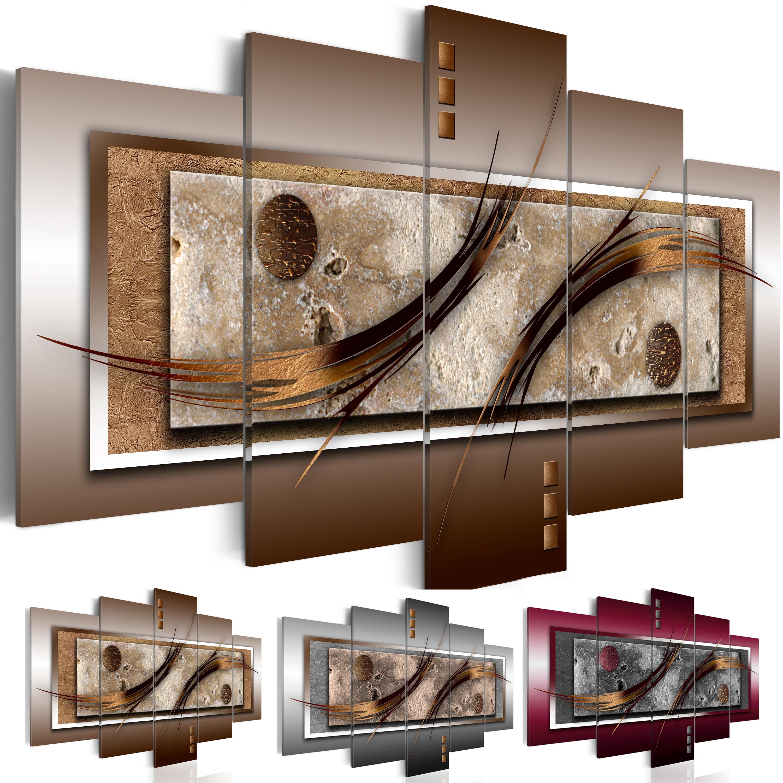 Wohnzimmer Bilder Xxl  WANDBILDER XXL ABSTRAKT Leinwand Bilder braun grau