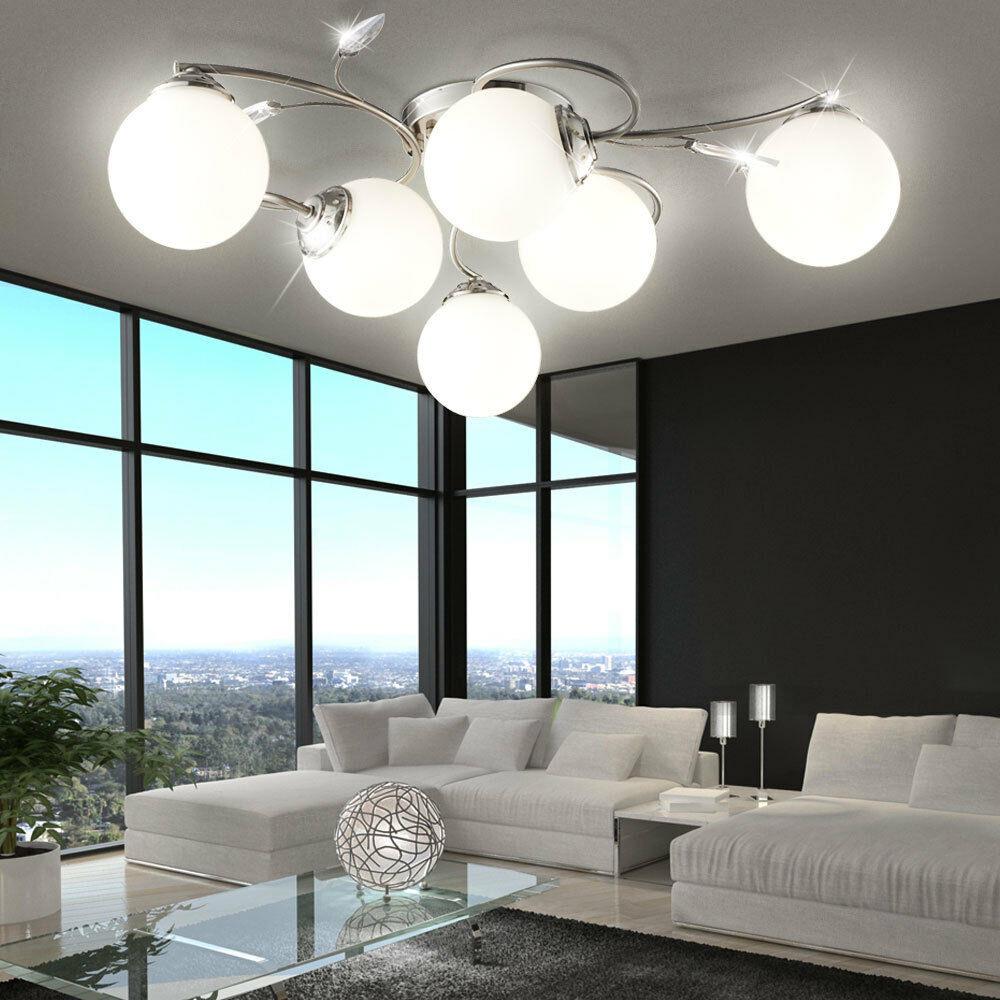 Wohnzimmer Deckenleuchte  Wohnzimmer Esszimmer Decken Leuchte Lampe 6 flammig
