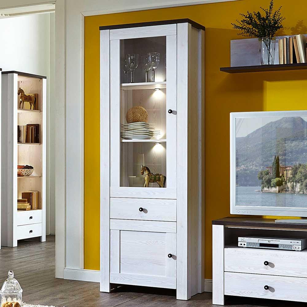 Wohnzimmer Vitrine  Wohnzimmer Vitrine Manarola in Weiß Pinie Grau