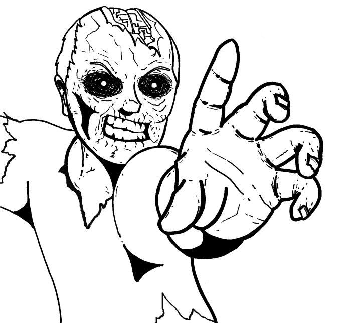 Zombie Ausmalbilder  Angry Zombie Coloring For Kids