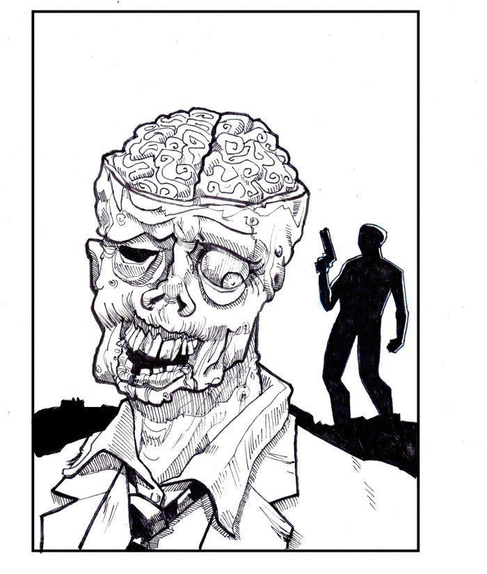 Zombie Ausmalbilder  Kostenlose Malvorlage Halloween Zombie zum Ausmalen